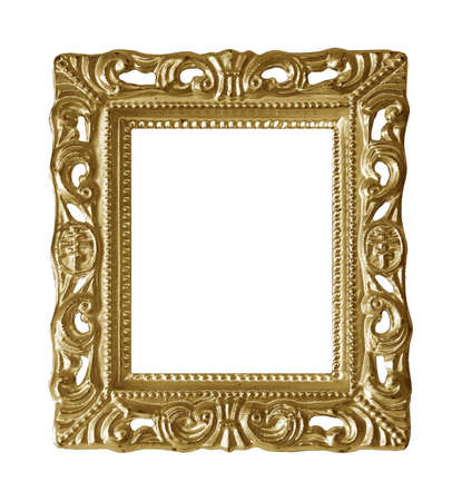 Golden frame for paintings, mirrors or photo isolated on white background Standard-Bild