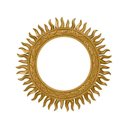 Golden round frame for paintings, mirrors or photo isolated on white background