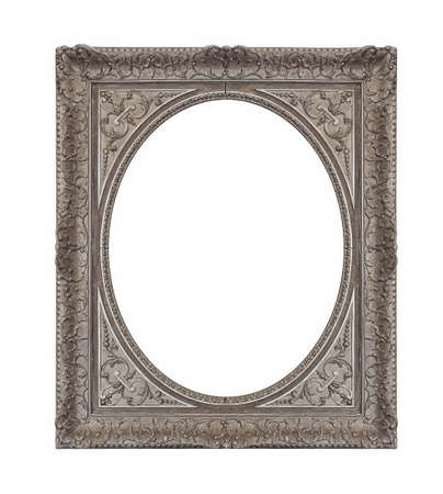 Silver oval frame for paintings, mirrors or photo isolated on white background