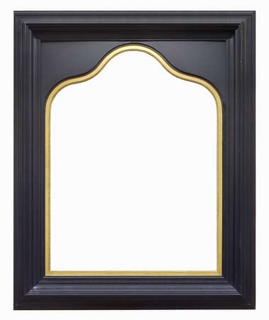 Wooden gothic frame for paintings, mirrors or photo isolated on white background