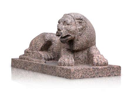 Stone lion statue isolated on white background. Standard-Bild