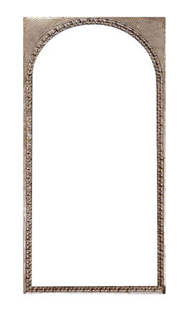 Panoramic silver frame for paintings, mirrors or photo isolated on white background.
