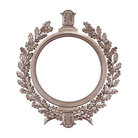 Silver round frame for paintings, mirrors or photo isolated on white background. Foto de archivo