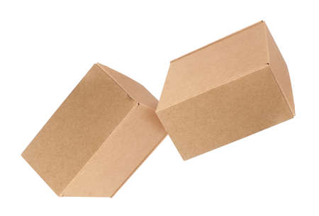 Two craft boxes isolated on white background
