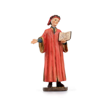"""Ceramic souvenir figure of the famous Italian poet in the red dress. The inscription in English means the name of the poet """"Dante"""""""