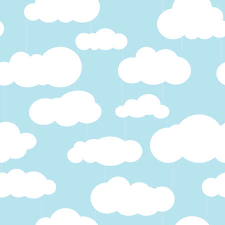 Seamless square pattern with clouds and rain