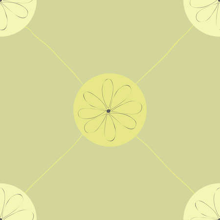 Seamless pattern: smooth elements like diagonal lattice with a flower in the middle Vector Illustration