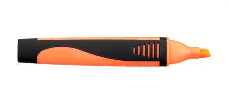 Orange marker or felt-tip without cap isolated on white background Foto de archivo