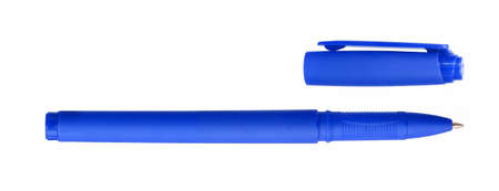 Blue ball pen and a cap isolated on white background