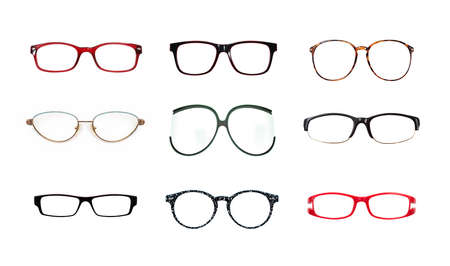 Set of glasses isolated on white background for applying on a portrait Foto de archivo