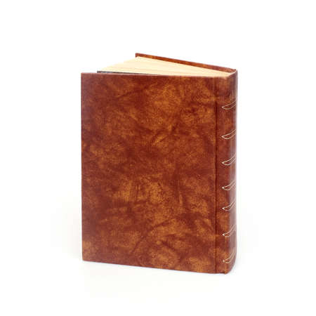 Book in brown cover isolated on a white background