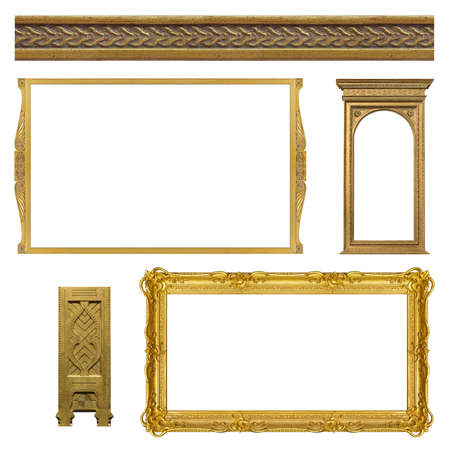 Set of golden frames for paintings, mirrors or photo isolated on white background Foto de archivo