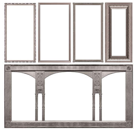 Set of silver frames for paintings, mirrors or photo isolated on white background