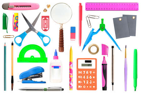 Set of stationery accessories isolated on white background