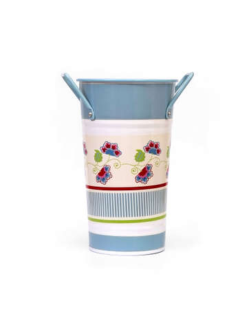 Vase in the form of a rustic bucket in vintage style isolated on white background Foto de archivo