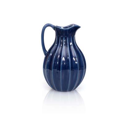 Blue ceramic jug isolated on white background