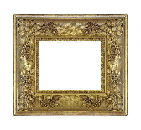 Golden frame for paintings, mirrors or photo isolated on white background Foto de archivo