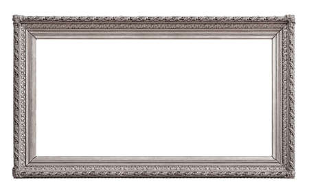 Panoramic silver frame for paintings, mirrors or photo isolated on white background. Foto de archivo
