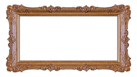 Panoramic wooden frame for paintings, mirrors or photo isolated on white background