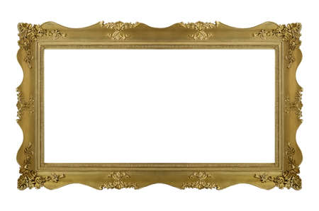 Panoramic golden frame for paintings, mirrors or photo isolated on white background. Foto de archivo