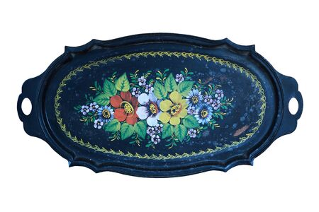 Ancient Russian folk tray black with yellow and red flowers painted paint