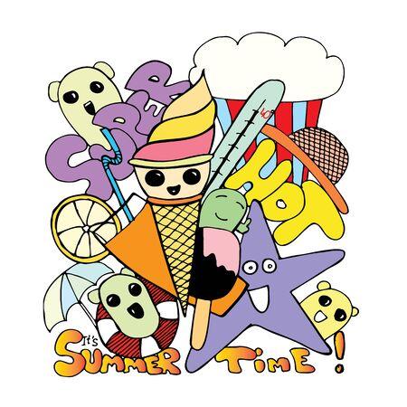 Summer print on a t- shirt. Ice cream. Heat. Ilustração