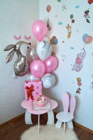 Interior of childs room decorated for birthday celebration 스톡 콘텐츠