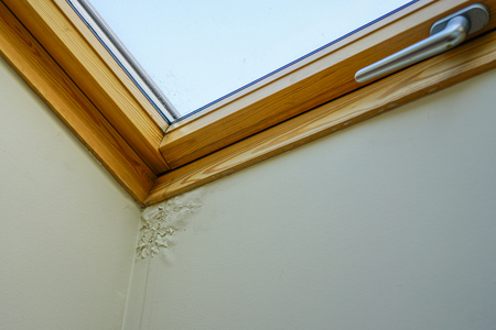 water and moisture damaged ceiling next to wooden roof window