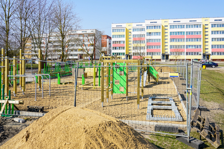 building a new modern childrens playground in the city Banco de Imagens