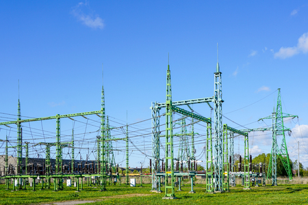 Electricity and power generation industry electric power transformation substation Archivio Fotografico
