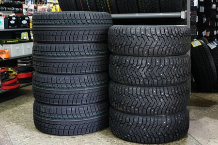 new winter tire sets with studs and without studs at tire shop