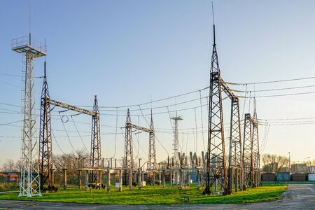 Electricity and power generation industry electric power transformation substation Stok Fotoğraf