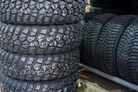 new offroad mud and terrain tire set at tire shop