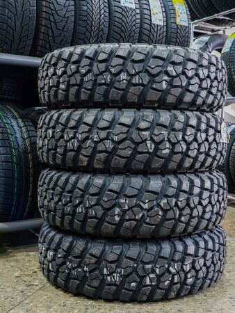 new offroad mud and terrain tire set at tire shop Stock fotó