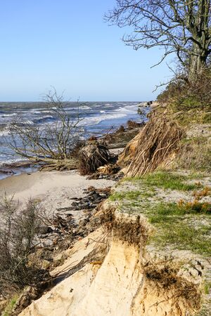 erosion of the Baltic Sea coast by strong winds, environmental problem