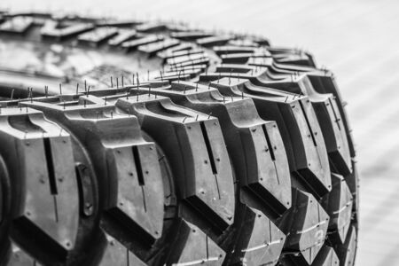 closeup view of brand new mud and terrain tire tread