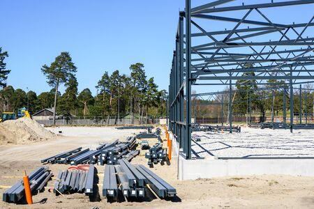 In the construction site new modern steel structure is under construction Standard-Bild