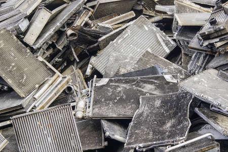 scrap stack of old used car aluminum cooling radiators