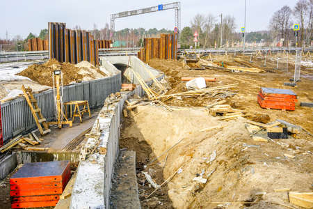 use of concrete formwork in the construction of a new pedestrian tunnel under the motorway