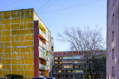 dilapidated apartment houses in the city that need renovation and thermal insulation