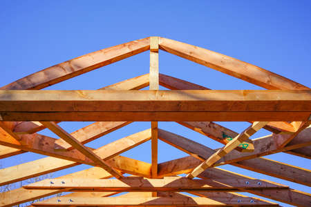 modern construction with wooden details, the new building are built with green materials and environmentally friendly 版權商用圖片