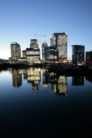 canary: Wide Angle Shot of Londons Canary Wharf at Dusk Stock Photo