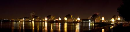 Panoramic Night Shot of the Futuristic Architecture of The Thames Barrier, London Stock Photo - 7675082