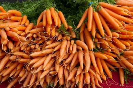 Carrots on display at the farmers market