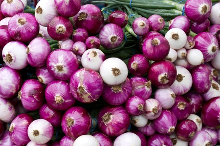 Red and white onions on display at the farmers market photo