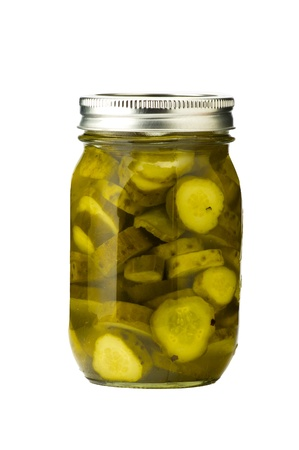 Jar of homemade pickles isolated
