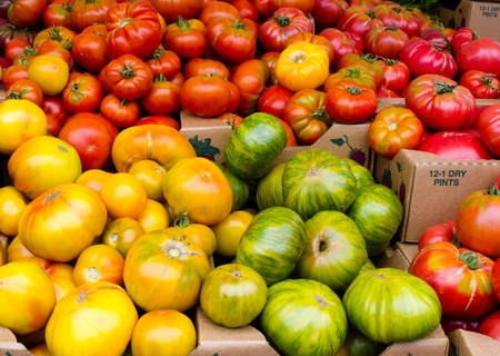 Frshly harvested heirloom tomatoes on display at the farmers market Imagens