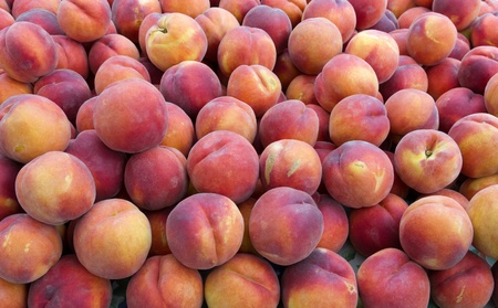 Fresh picked sweet peaches on display at the farmers market