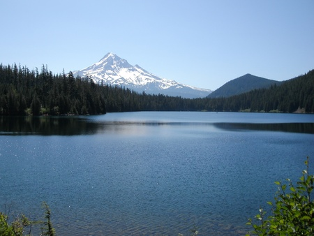 Lost Lake with view of Mt Hood in background Stock Photo
