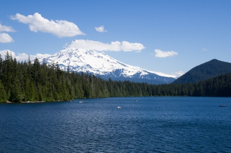 lost lake: Lost Lake with view of Mt Hood in background and fisherman in boats